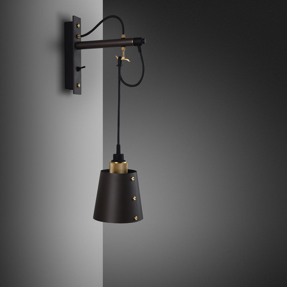 Hooked Small - Graphite & Brass Wall Lamp