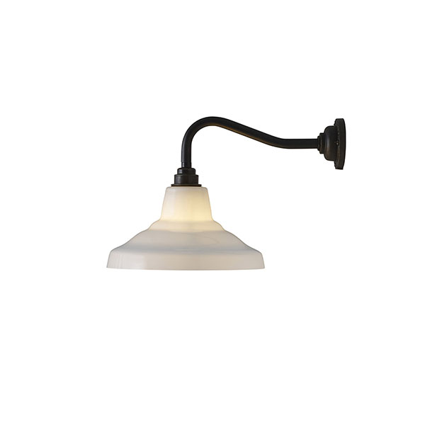 Glass School Wall Lamp With Opal Glass