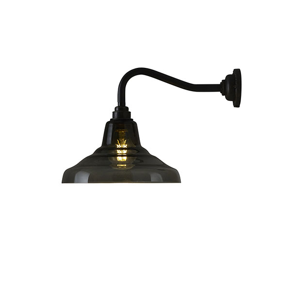 Glass School Wall Lamp With Anthracite Glass