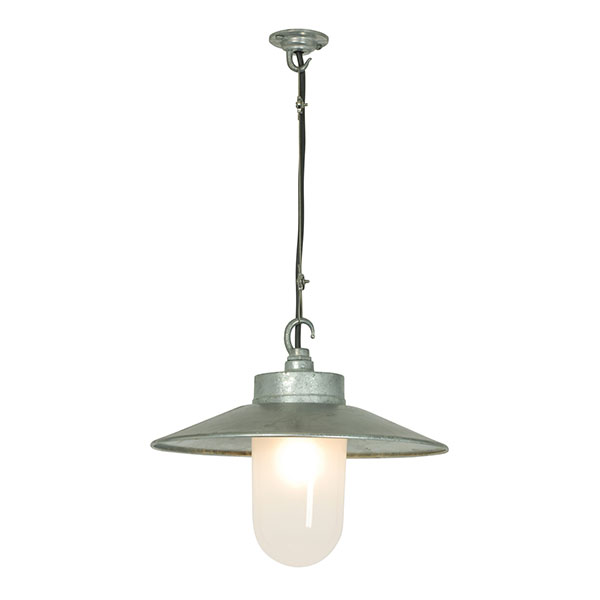 Well Glass Pendant With Visor - Frosted Glass