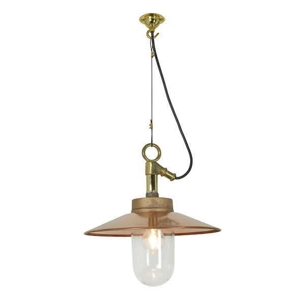 Well Glass Pendant With Visor - Clear Glass IP44