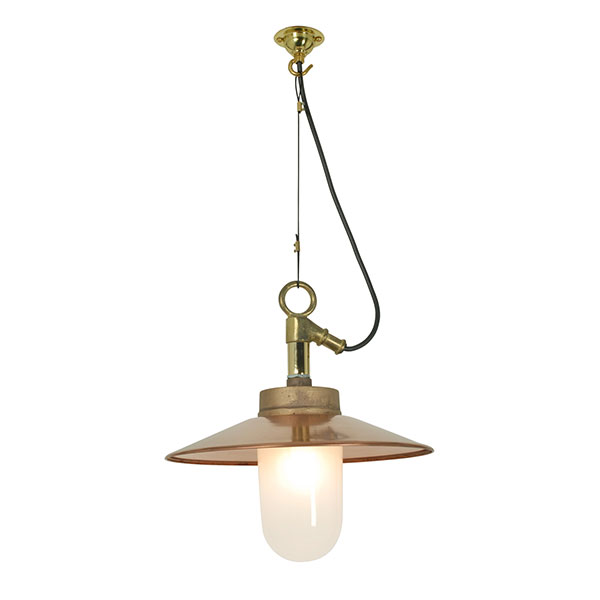 Well Glass Pendant With Visor - Frosted Glass IP44