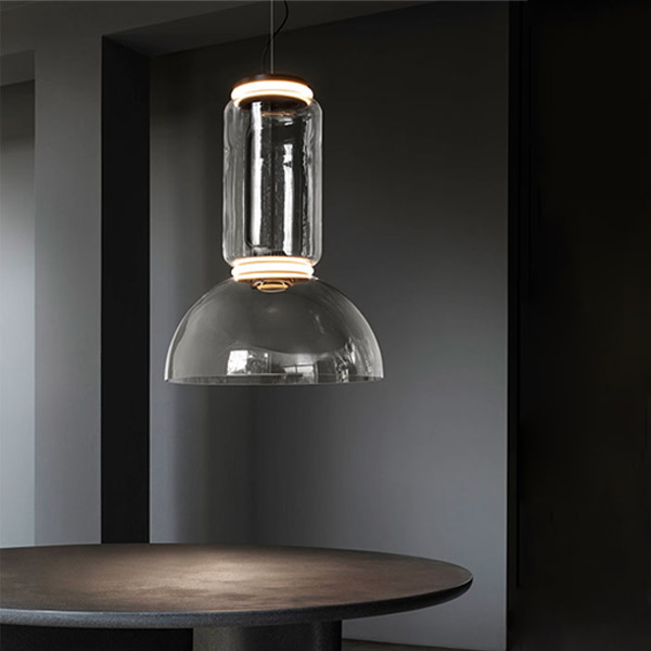 Noctambule 1 Low Cylinder and Bowl Suspension Lamp