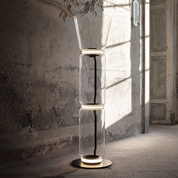 Noctambule 2 High Cylinders Cone Small Base Floor Lamp
