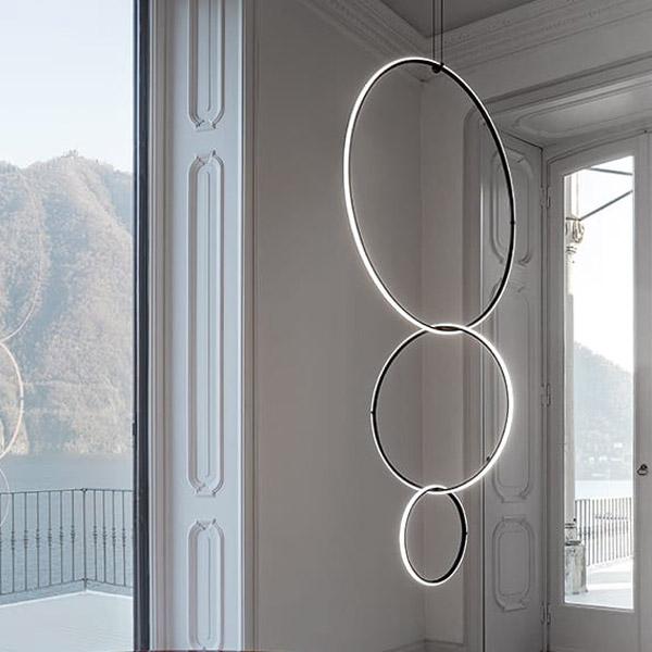 Arrangements Round Medium Suspension Lamp With Recessed Rose Canopy