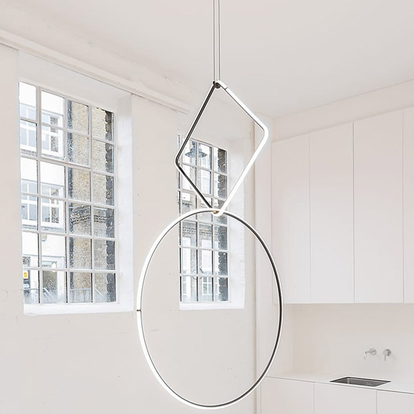 Arrangements Square Large Suspension Lamp With Small Rose Canopy