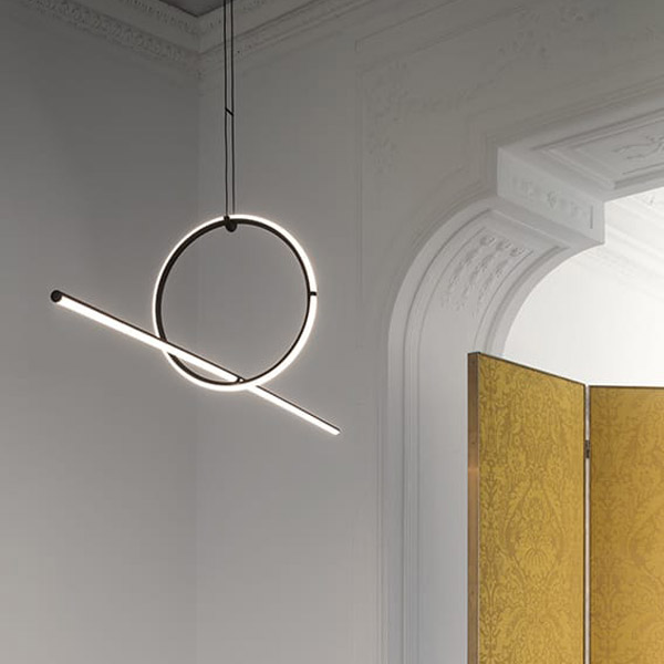 Arrangements Line Suspension Lamp With Recessed Rose Canopy