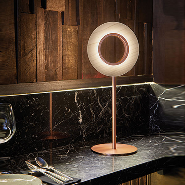 Lens Circular Table Lamp - Copper