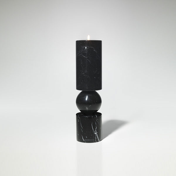 Fulcrum Candlestick Black Marble Small