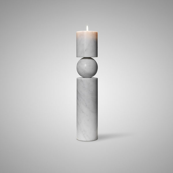 Fulcrum Candlestick White Marble Large