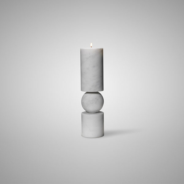 Fulcrum Candlestick White Marble Small