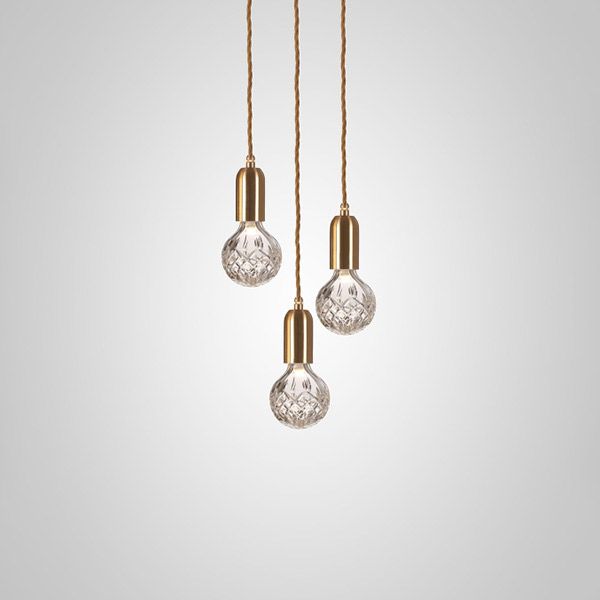 Crystal Bulb Chandelier 3 Piece - Clear