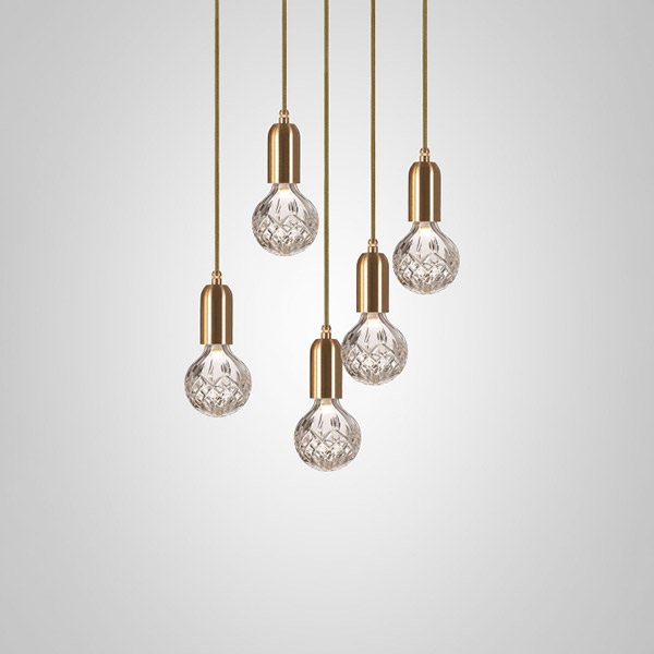 Crystal Bulb Chandelier 5 Piece - Clear