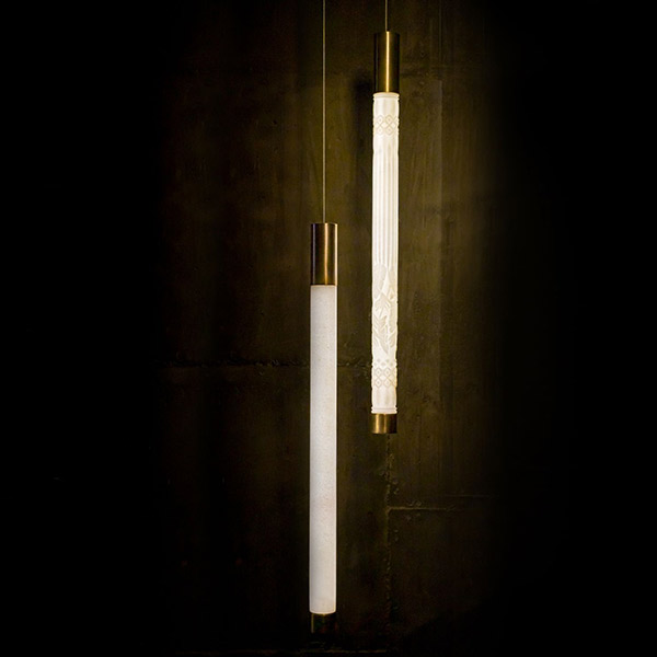 Marble Tube Vertical Pendant Small